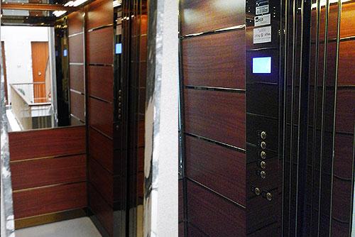 Ascensore condominio rivestito in legno