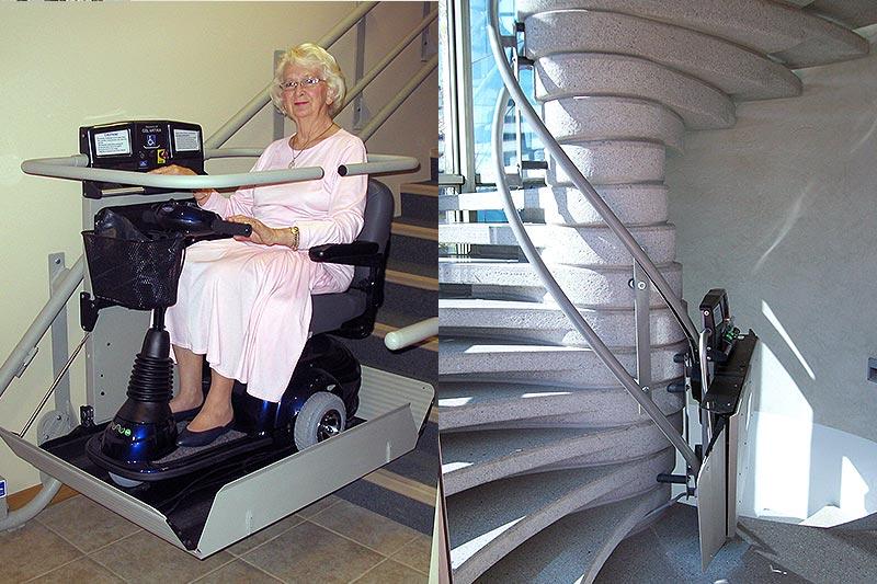 Montascale per anziani in scooter - Montascale per scale a chiocciola